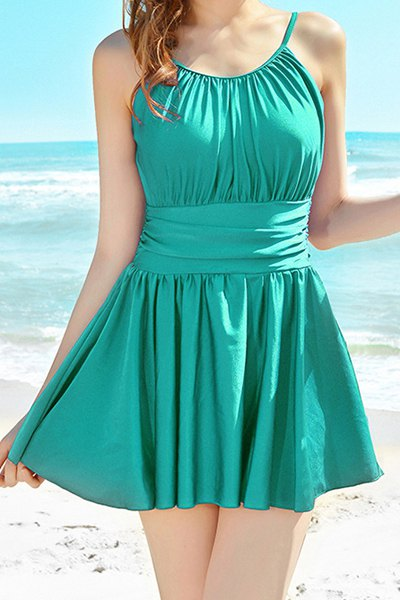 Sammydress Fashionable Scoop Neck Solid Color Backless One-Piece Swimwear for Women