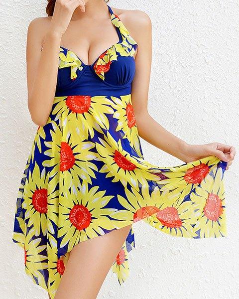 Sammydress Stylish Floral Print Halterneck Two Piece Swimsuit for Women