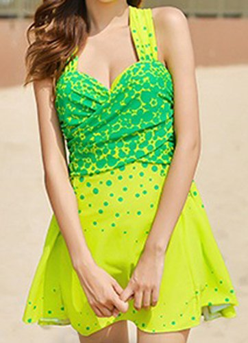 Sammydress Sweetheart Neck Sleeveless Polka Dot Stylish One-Piece Swimsuit for Women